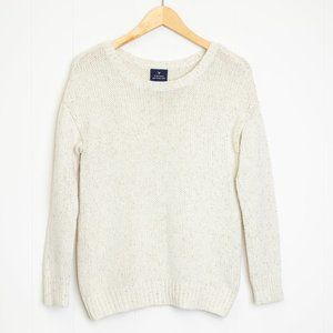 American Eagle Outfitters Cream with Gold Thread Boyfriend Sweater, Small